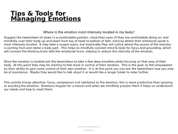 Emotional Scale Charts for tweens & teens