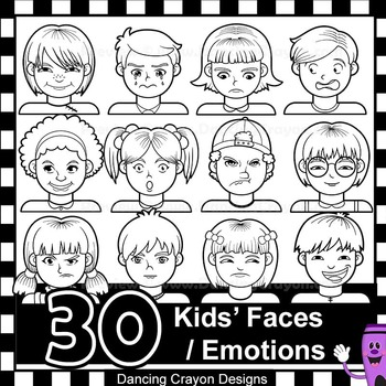 Emotions Clip Art   Kid's Faces Showing Feelings