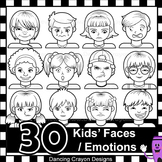 Emotions Clip Art | Kid's Faces Showing Feelings