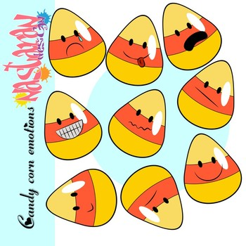 Emotions and Feelings Candy Corn Clip Art- Halloween Clipart