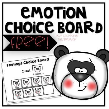 Emotions Choice Board - Panda Theme | Freebie!