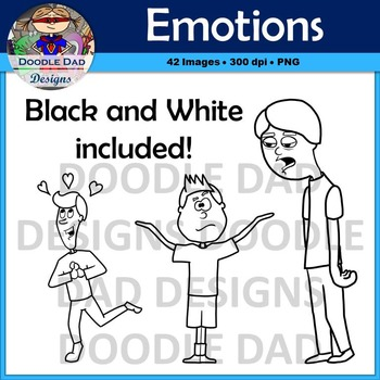 Emotions Clip Art (Happy, Sad, Scared, Nervous, Silly, Ecstatic, Angry)