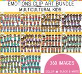 Emotions Clip art Bundle: Multicultural Kids