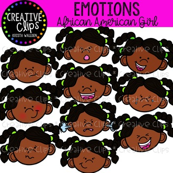 Emotions Clipart: African American Girl {Creative Clips Clipart}