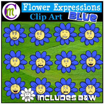 Emotions Clipart | Blue Flower Expressions Clip Art