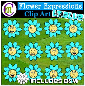 Emotions Clipart | Light Blue Flower Expressions Clip Art