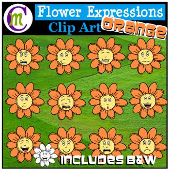 Emotions Clipart | Orange Flower Expressions Clip Art