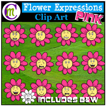 Emotions Clipart | Pink Flower Expressions Clip Art
