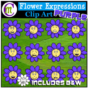 Emotions Clipart | Purple Flower Expressions Clip Art