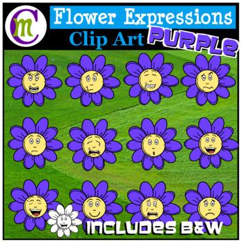 Emotions Clipart   Purple Flower Expressions Clip Art
