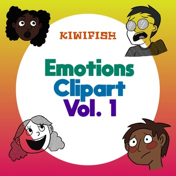 Emotions Clipart Vol. 1 Colorful and Black and White