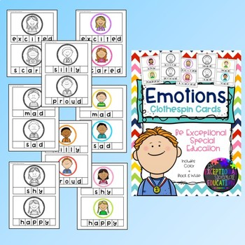 Emotions Clothespin Letter Matching Activity