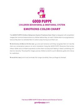 Emotions Color Chart . Child Behavioral & Emotional Tools by GOOD PUPPY