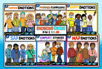Emotions CommUNITY FULL BODY Clip-Art Bundle-54 Pieces BW/Color