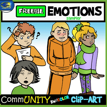 Emotions CommUNITY Clip-Art FREEBIE Sampler 8 Pieces BW/Color