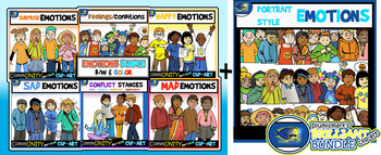 Emotions CommUNITY Full AND Portraits Styles Clip-Art BUNDLE-108 Pieces BW/Color