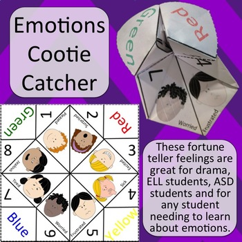 Emotions Cootie Catcher - Fortune Teller Feelings - Black/white and Color
