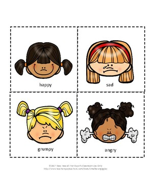 Emotions Cut and Paste Activities Autism Special Education P-K, K Fine Motor