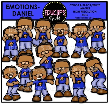 Emotions - Daniel Clip Art Bundle {Educlips Clipart}