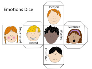 Emotions Dice - Drama Game - Black/white and Color