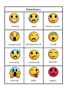 Emotions Emojis Bingo -Emotions Vocabulary in English