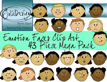 Emotions Faces Clipart Mega Pack - Color and Line Art 43 pc set