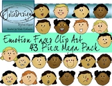 Emotions Faces Clipart Mega Pack - Color and Line Art 43 pc set