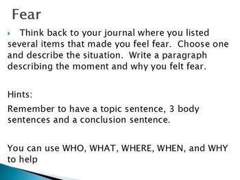Emotions  - Fear w/worksheet (SMART BOARD)