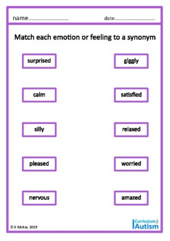 Autism Emotions & Feelings, Middle & High School, Special Education, ESL