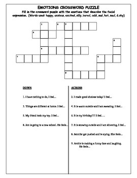Emotions/ Feelings Crossword Puzzles