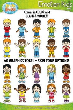 Emotions / Feelings Kid Characters Clipart Set — Includes