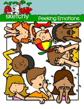 Emotions / Feelings Peeking Kids Clip art