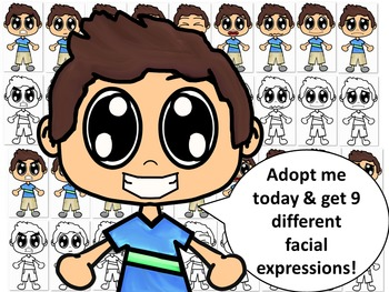 Emotions, Feelings, and Expressions Clip Art Kids:  Caucasian Boy in Blue Shirt