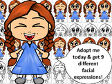 Emotions, Feelings, and Expressions Clip Art Kids: Caucasian Girl in Blue Dress
