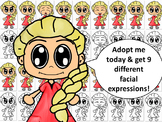 Emotions, Feelings, and Expressions Clip Art Kids: Caucasian Girl in Red Dress
