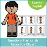 Emotions Flashcards Asian Boy Clipart Spanish English