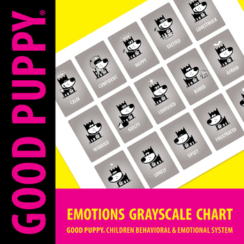 Emotions Gray-Scale Chart . Child Behavioral & Emotional Tools by GOOD PUPPY