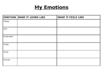 Emotions Identification Worksheet