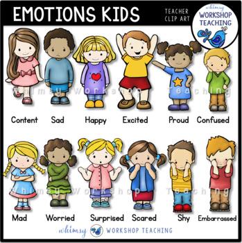 Emotions Kids Clip Art Set - Whimsy Workshop Teaching