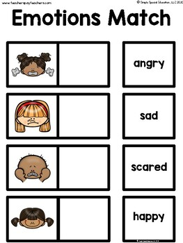 Emotions Match for Special Education FREE