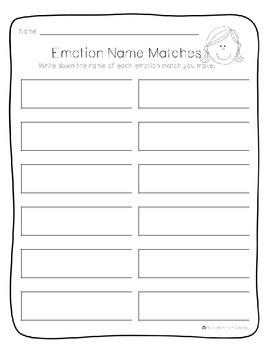 Emotions Memory Game {PK-1} Social-Emotional Development