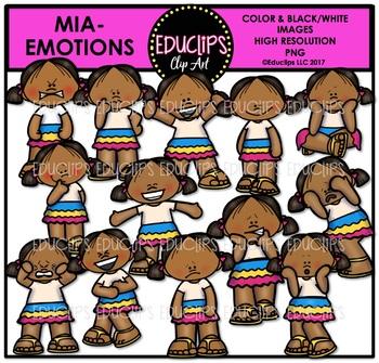 Emotions - Mia Clip Art Bundle {Educlips Clipart}