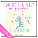 Emotions Poster, Bulletin Board Set & Game: Unicorn Theme Classroom Decor