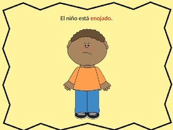 Emotions Powerpoint in Spanish/Practicar las palabras de emociones en español