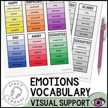 Emotions Vocabulary Visual Support