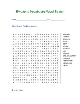 Emotions Vocabulary Word Search