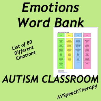 Autism Spectrum:Emotions Word Bank