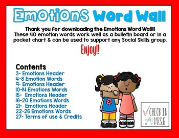 Emotions Word Wall
