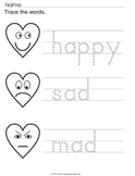 Emotions Worksheets with Hearts for Valentine's Day