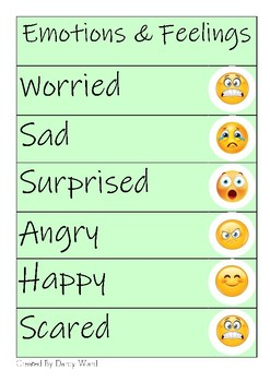 Emotions and Feelings Cards, Emotional Regulation Activity